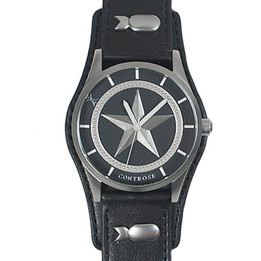 Nautical Star Watch - Black Leather Wristband