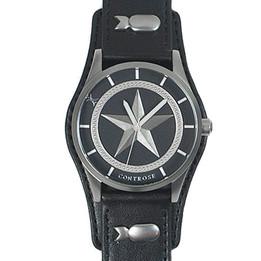 Nautical Star Watch - Black Leather Wristband