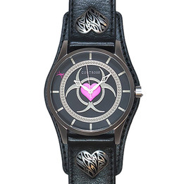 Toxic Love Watch - Black Leather Wristband