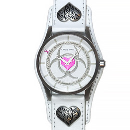 Toxic Love Watch - White Leather Wristband