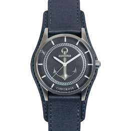 Anchor Strong Watch - Gray Leather Wristband
