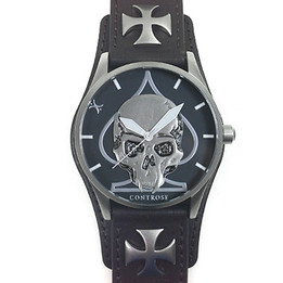 SKULL & SPADE WATCH - BROWN LEATHER WRISTBAND