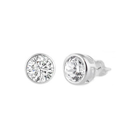 Sterling Silver CZ Stud Earring - 6MM