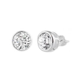 Sterling Silver CZ Stud Earring - 7MM