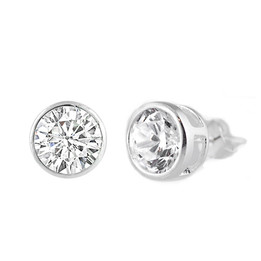 Sterling Silver CZ Stud Earring - 8MM