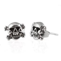 Stainless steel skull bone earring