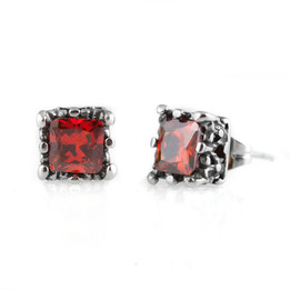 Stainless steel red cz stud earrings