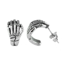 Stainless steel skeleton hand earrings