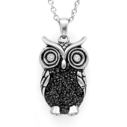 "Owl Necklace ""Night Bright Owl"", Bird Pendant Adorned with Swarovski Crystals"