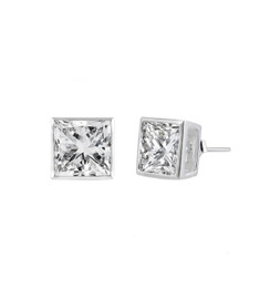Sterling Silver Square CZ Stud Earring - 6MM