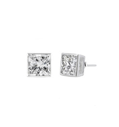 Sterling Silver Square CZ Stud Earring - 5MM