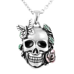 Garden of Life Skull Rose Butterfly Necklace