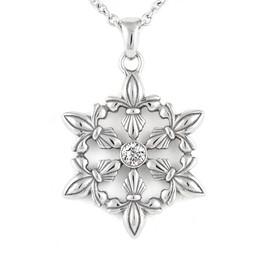 Snow Flake Fleur-de-Lis Glimmer Necklace