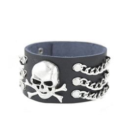 punk skeleton leather bracelet