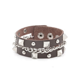 punk unisex studs link chian leather bracelet