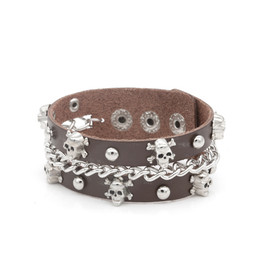 skeleton link chain leather bracelet