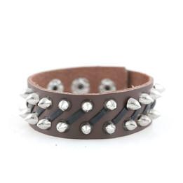 punk rivet studs leather bracelet