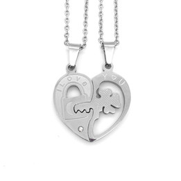 stainless steel lucky leaf couple necklace