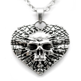 Undying Love Skull Heart Necklace