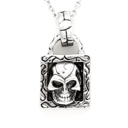 stainless steel lock skull necklace