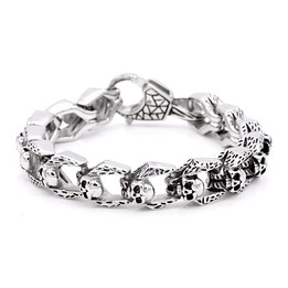 stainless steel cable skulls bracelet