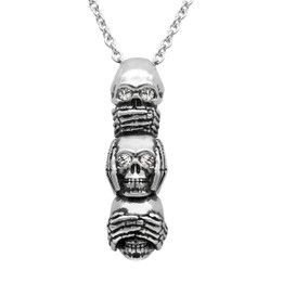 Speak No Evil, Hear No Evil, See No Evil Skull Necklace