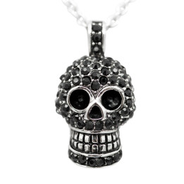 Skull Necklace with Black Cubic Zirconia