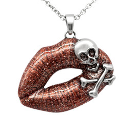 Red Lips Skull Necklace - Toxic Love