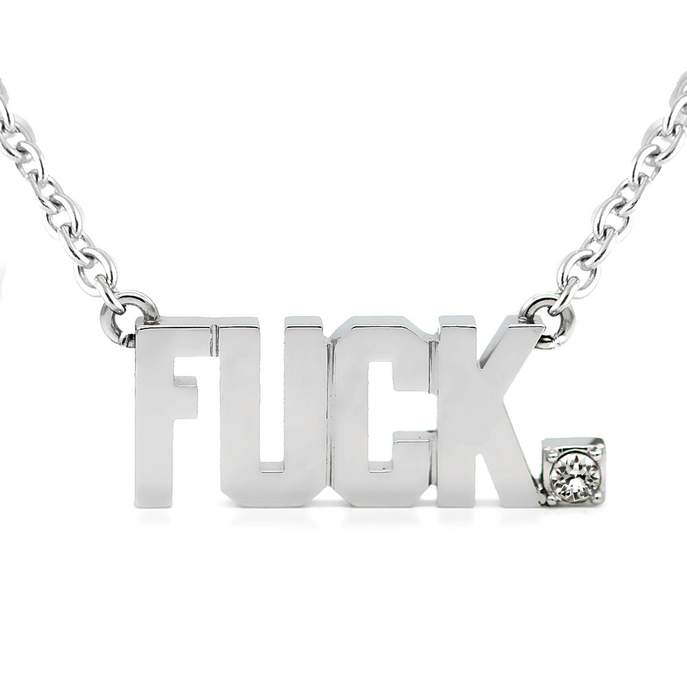 4abec6696 FUCK Pendant Block Letter Necklace with Swarovski crystal - Controse