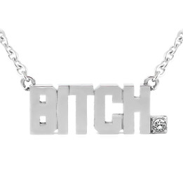 BITCH Pendant Block Letter Necklace with Swarovski crystal