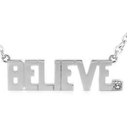 BELIEVE Pendant Block Letter Necklace with Swarovski crystal