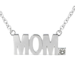 MOM Pendant Block Letter Necklace with Swarovski crystal
