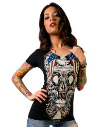 FREE FOR THE DEAD SUGAR SKULL LADIES V-NECK