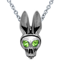 Bunny Skull Birthstone Necklace With Swarovski Crystal