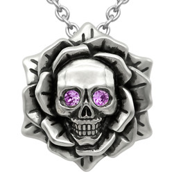 Skull Rose Birthstone Necklace With Swarovski Crystal