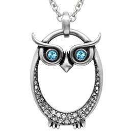 "Birthstone Necklace ""Owl Birthstone"", Birthstone Pendant Adorned with Swarovski Crystals"