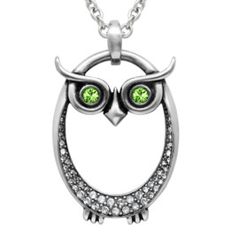 "Birthstone Necklace ""Owl Birthstone"", Birthstone Pendant Adorned with Swarovski Crystals"