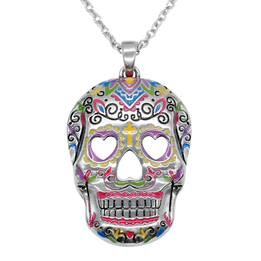 "Sugar Skull Necklace ""Heart Eyes"", Skull Pendant"