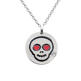Love Skull Emoji Necklace With Swarovski Crystal