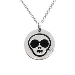 Cool Skull Emoji Necklace With Swarovski Crystal