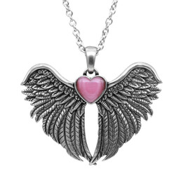 Forever With You Winged Heart Necklace With Cat Eye Stone