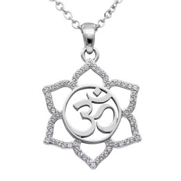 Sacred Om Lotus Flower Necklace
