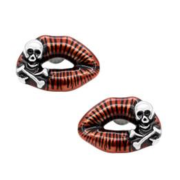 Toxic Love Red Lips Skull Earrings