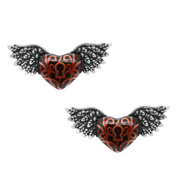 Red Winged Heart with Keyhole Earrings