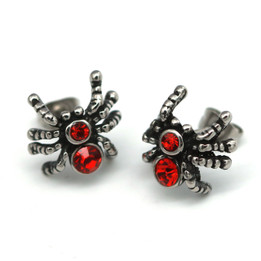 Red CZ Spider Earrings