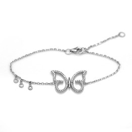 Silver Butterfly Bracelet with 72pcs White CZs
