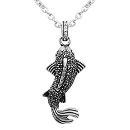 Black & White Sparkling Koi Fish Necklace