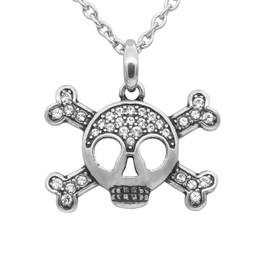 Studded Skull & Crossbones Necklace
