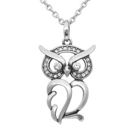 "Owl Necklace ""Luminous Owl"", Bird Pendant Adorned with Swarovski Crystals"