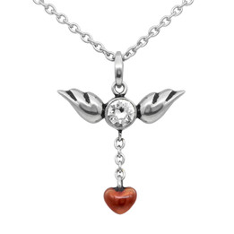 Love In Flight Heart and Wings Necklace